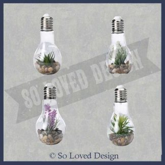 4 gloeilampen met plantje in steentjes copyright So Loved Design